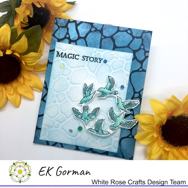 EK Gorman, White Rose Crafts stencil embossing a