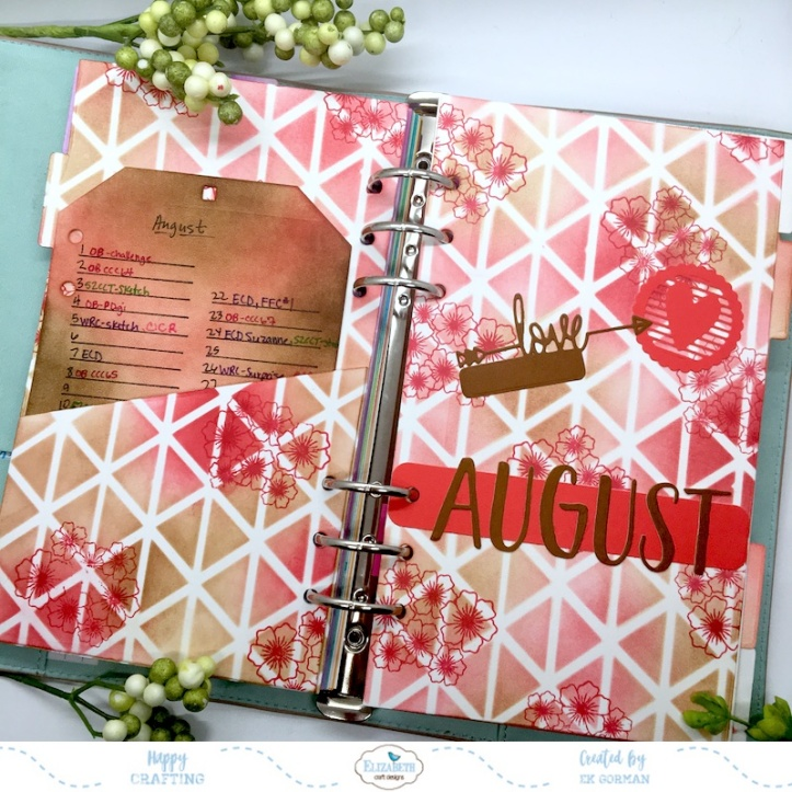 EK Gorman, Elizabeth Craft, August Planner a
