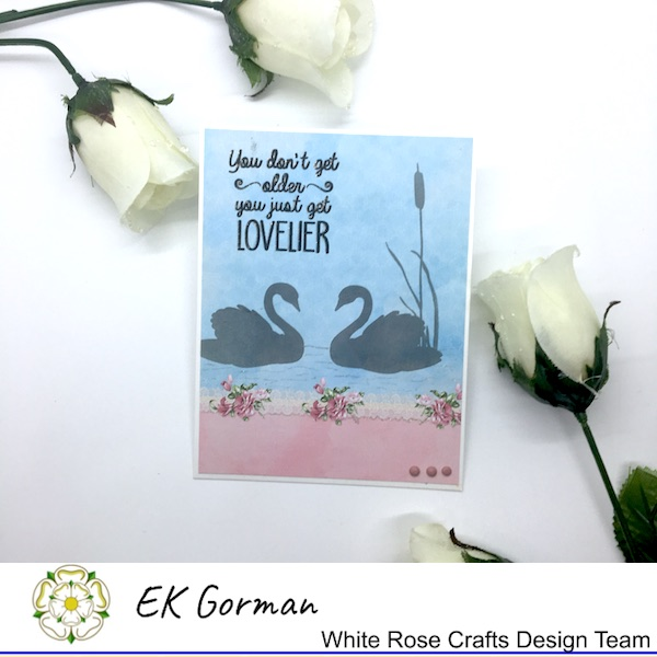 EK Gorman, White Rose Crafts, Scrapberry swans c